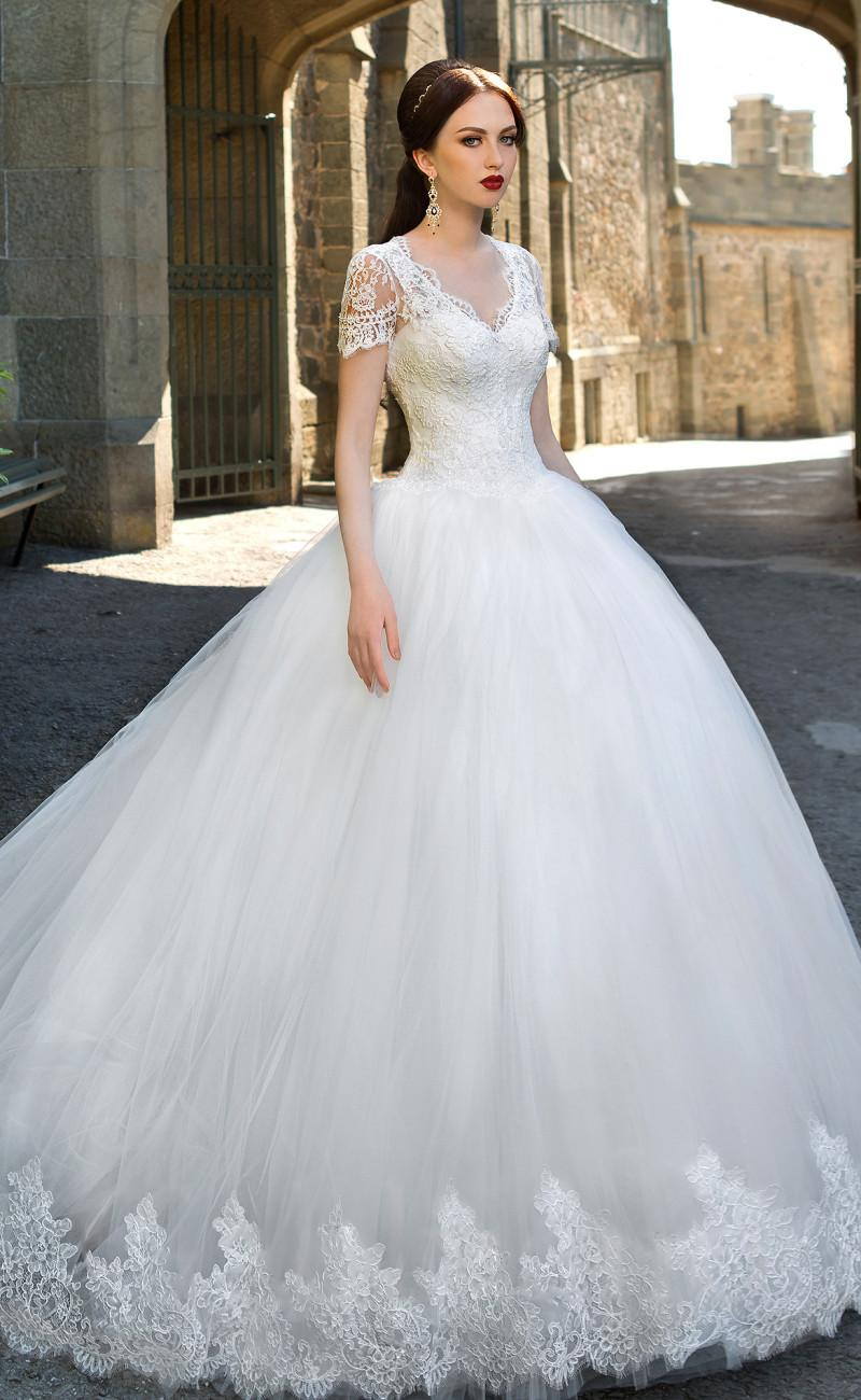 White Tulle Ball Gown Wedding Dresses Cap Sleeves Sheer Lace Back ...