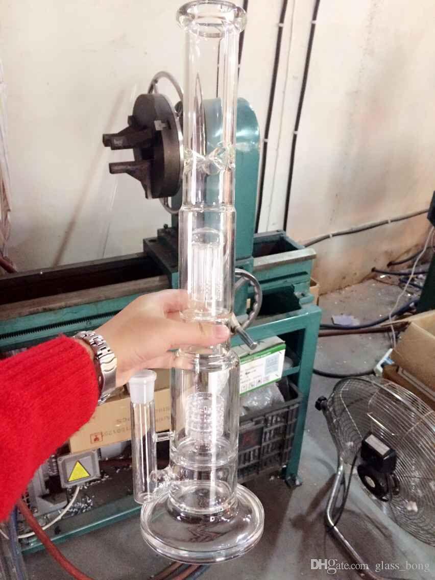 2017 새로운 오일 장비 유리 봉포 대형 물 파이프 꽃병 Perc Percolator 흡연 파이퍼 18mm 조인트 두꺼운 팔 45cm 높이