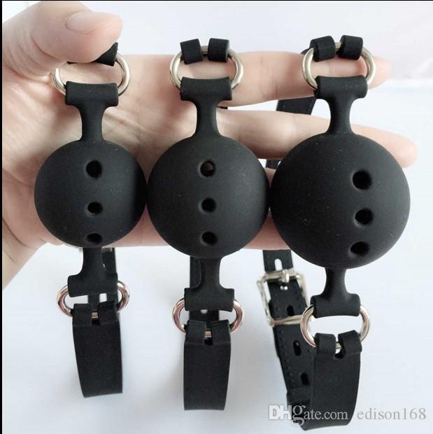 3サイズの開口口ボンデージペクチンボールシリコンの口のギャグエアホールハーネスパッションフライバーティングのrestriants成人緊縛セックスおもちゃ3色