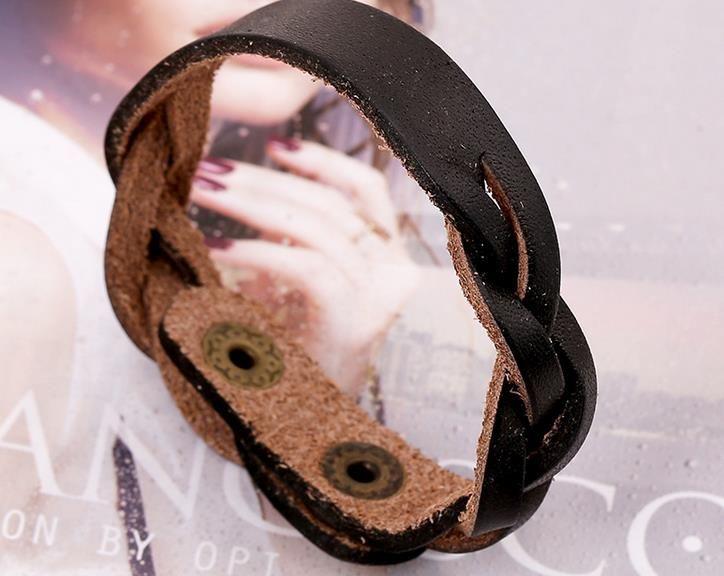 Vintage Genuine leather hand-woven bracelets fashion men women teens ID Identification bangle wristband charm jewelry party festive gift