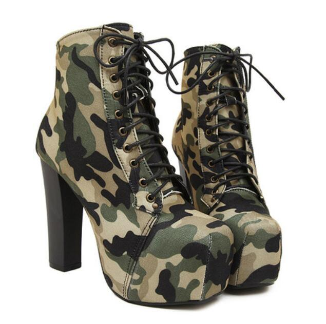 Square camouflage boots lace cross straps shoes waterproof boots with thick high-heeled women