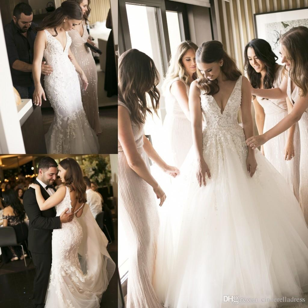 d54674cb22f 2018 Steven Khalil Two Pieces 2 In 1 Mermaid Wedding Dresses With Removable  Long Over Skirt Train Pearls Bridal Gowns Plus Size Cheap Wedding Dresses  On ...