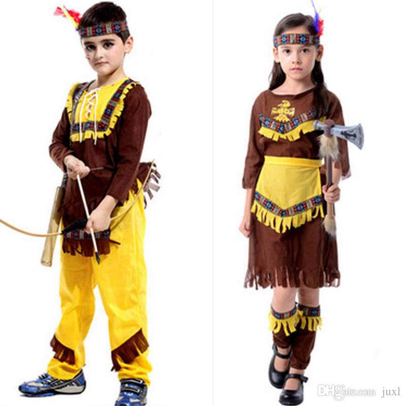 indian girls children boy native american child halloween costume cosplay fancy dress masquerade cosplay carnival costumes family halloween costumes for 5 - Halloween Native American Costumes