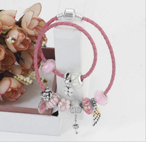 La nuova corda a mano in lega di perline rosa ali cuore di pesca Bracciale in pelle multistrato LB014 popolare stile europeo Gepanduola