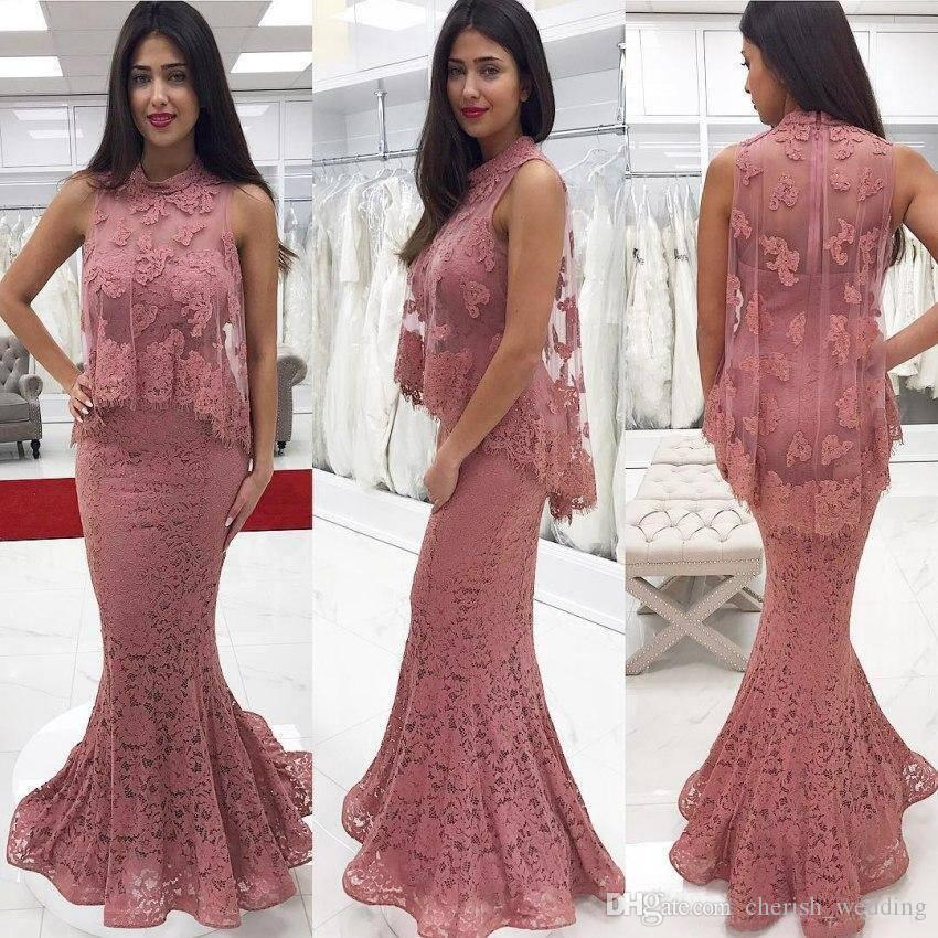 Designed Two Piece Evening Dresses Lace Applique Beads Sweetheart Floor Length Formal Prom Gowns Long vestidos