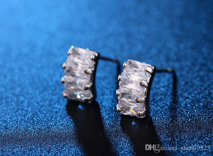High Quality Zircon Earrings Jewelry luxurious South Korean Model Crystal Stud Earrings Jewlery For Females Jewelry 82E60