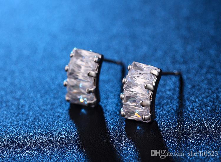 Hoge Kwaliteit Zirkoon Oorbellen Sieraden Luxe Zuid-Koreaanse Model Crystal Stud Earrings Jewlery For Females Sieraden 82E60