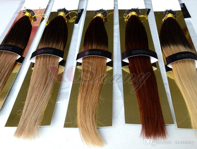 XCSUNNY 100% indiano capelli umani nano Remy capelli estensioni dei capelli ombre 18