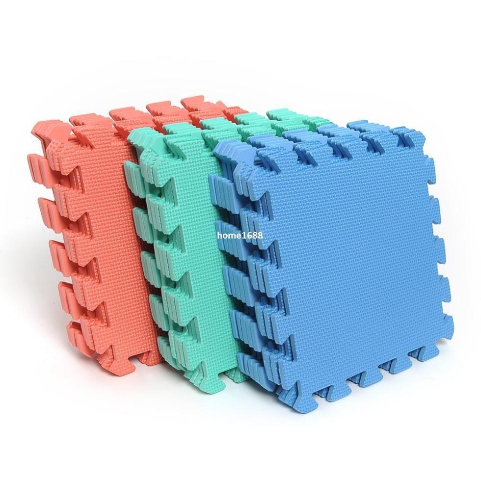 Set of Interlocking Puzzle Floor Foam Gym Mats Thick Squares Tile ...