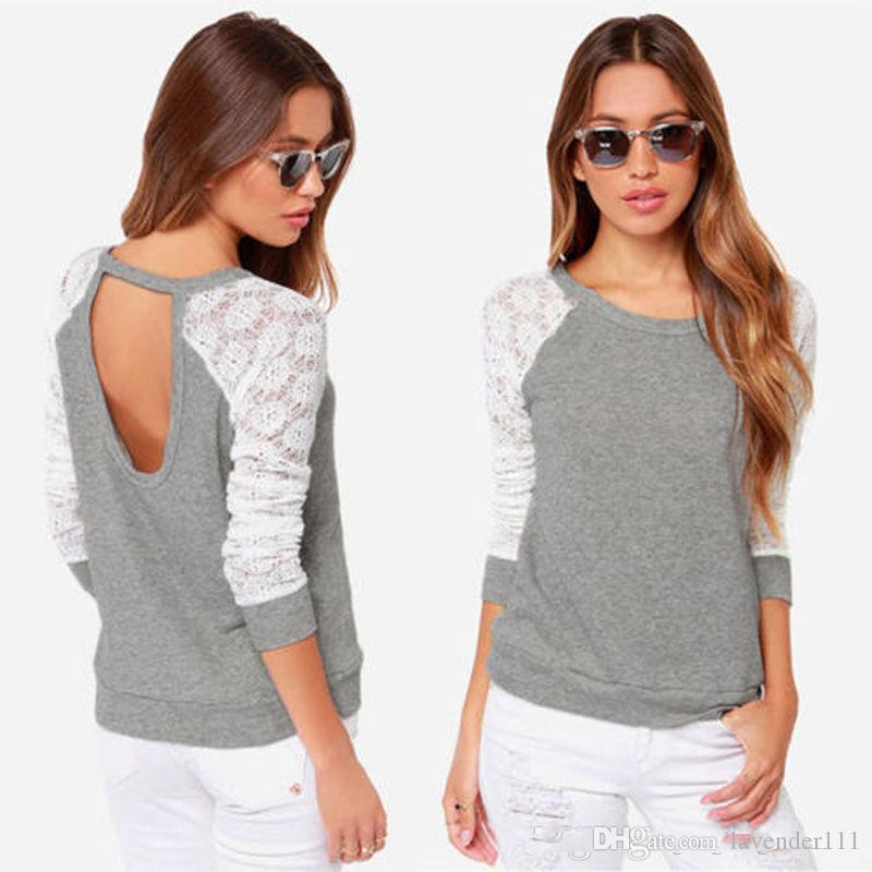 Sexy Women Ladies Backless Splice Lace Sleeve Loose T-Shirt Blouse Cotton Tops WG1256