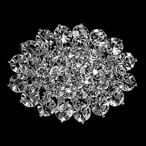 Zinc Alloy Beautiful Fashion Rhodium Silver/Gold Plated CZ Clear Crystal Rhinestone Large Size Flower Brooches and Pins
