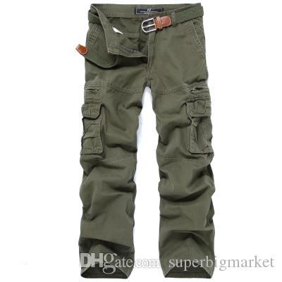 Pantalon de cargaison décontracté de haute qualité pour hommes longues doublures chaudronneuses Pantalons en coton Poches Globalement Millitary Style Trousers
