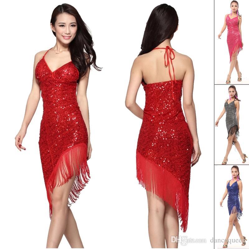 2017 2015 Latin Dance Dress Women Red/Rose/Black/Blue Sex Cha Cha ...