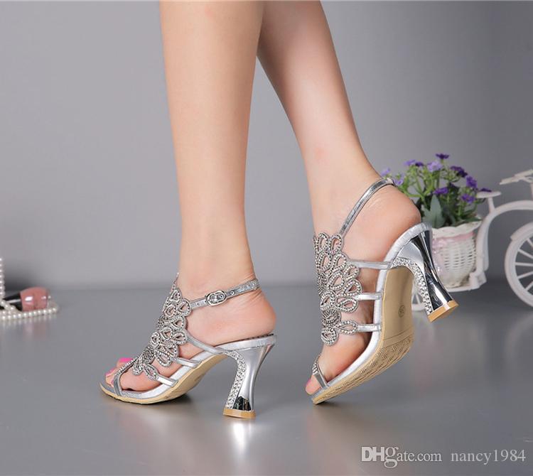 Zomer Nieuwe Sandalen Chunky Hak Bloemen Zilveren Trouwjurk Schoenen Rhinestone Luxe Lederen Prom Party High Heels