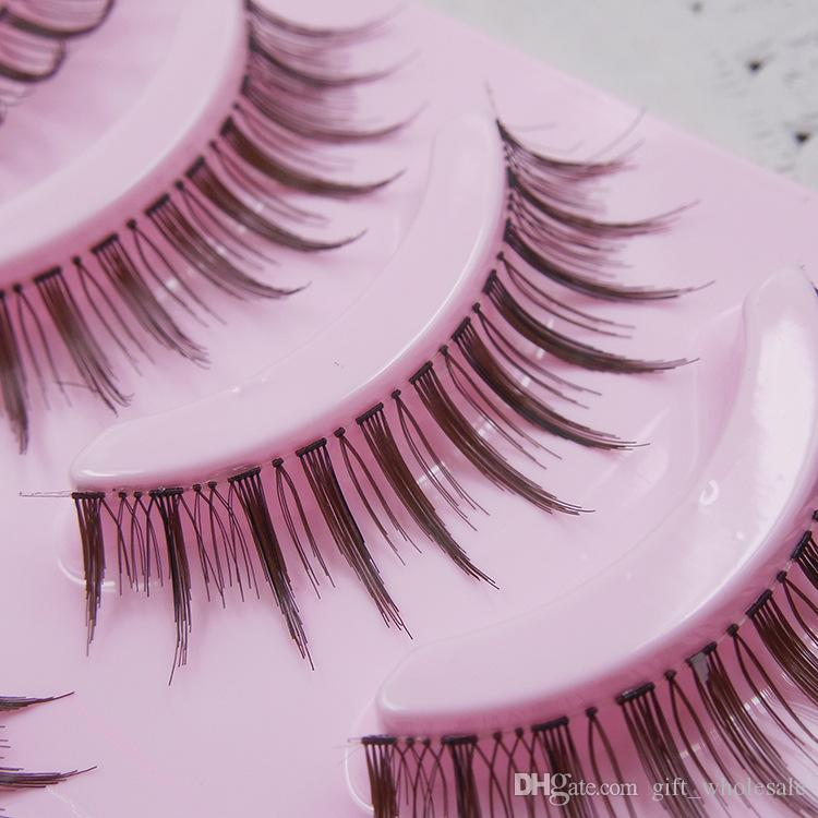 High Quality Japanese Brand Diamon Lash Pink Package Hand Made Makeup Coffee Color False Eyelashes Factory Sales Directly 5 Pairs/Set