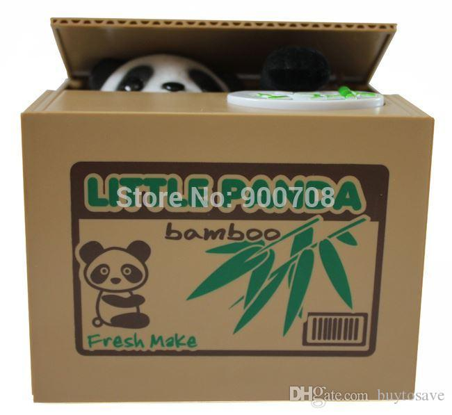 30pcs/lot Free shipping novetly panda Steal Coin Piggy Bank Money Bank Box  For Kid's Gift 1002#02