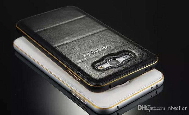 PU Leather Back Hard Case +Metal Aluminum Frame Bumper Fashion Protective 2 in 1 Alloy For Galaxy A3 A5 A7 A8 E5 E8 Note 5 4 3 2 Bling Cover