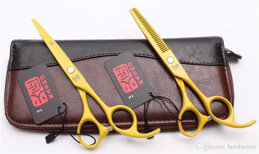"5.5"" 16cm Japan 440C Kasho Hot Sell Professional Human Hair Scissors Barbers' Scissors Cutting Thinning Shears Salon Style Tools H1023"