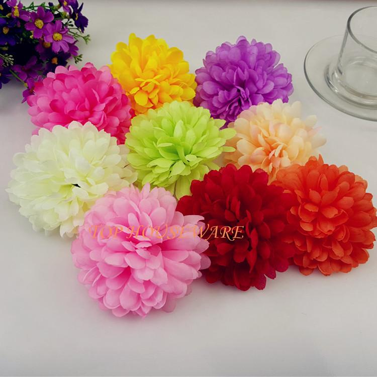 10CM/3.93' 50pcs Artificial silk chrysanthemum Flower Head for DIY Decorative Hat Clothing Accessory Wedding Wall Party