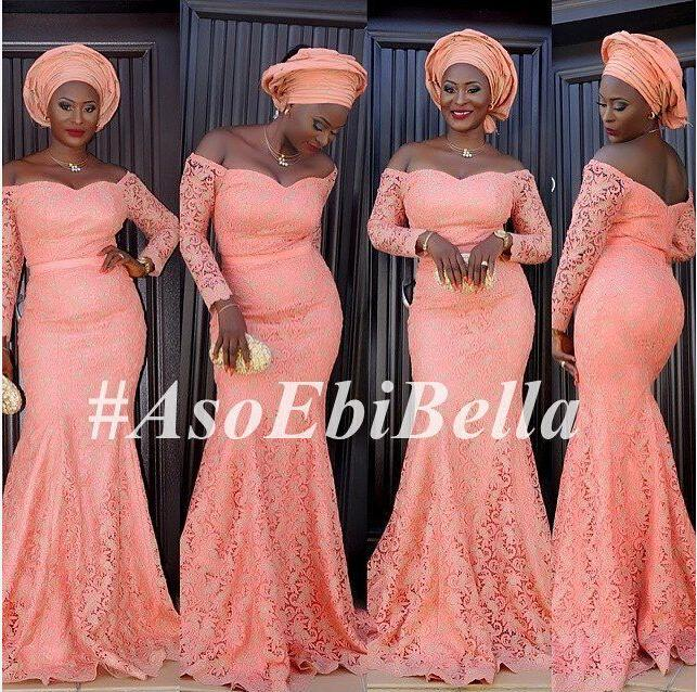 Off The Shoulder Long Sleeves lace Elegant Aso Ebi Style Evening Dresses Plus Size 2016 Africa Mermaid Evening Gowns Peach Prom Party Gowns