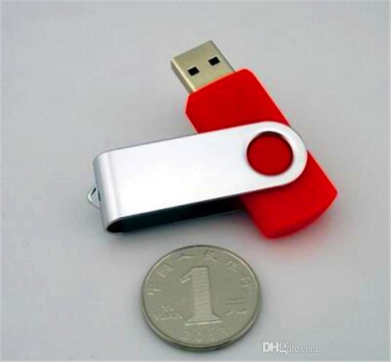 2020 100% gerçek 2GB 4GB 8GB 16GB 32GB 64GB Metal USB flash sürücü USB 2.0 Metal pendrive bellek çubuğu döner LOGO özelleştirilebilir