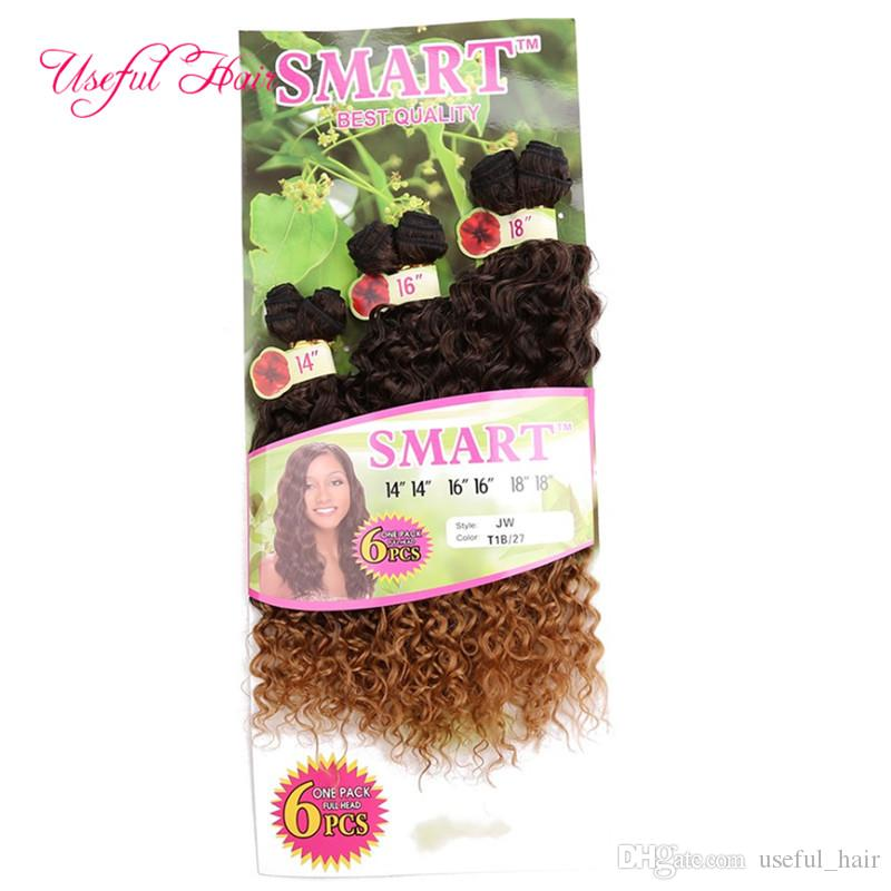 FASHION SMART BEST QUALITY synthetic weft hair ombre BROWN color Jerry curl crochet hair extensions crochet braids hair weaveS