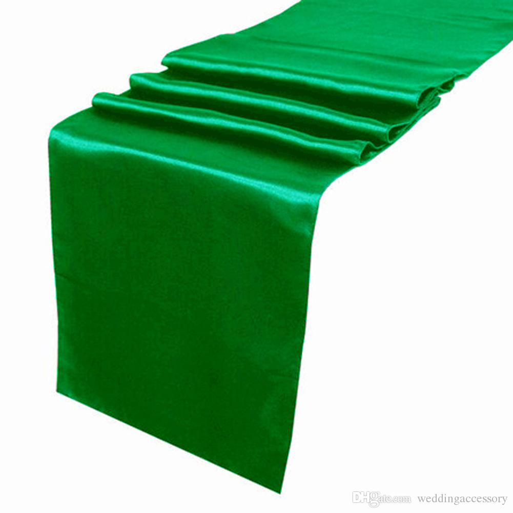 Beautiful Emerald Dark Green Satin Table Runner Wedding Cloth Runners Silk Organza  Holiday Favor Party Decor Run Paper Table Runners Party Table Cloths From  ...