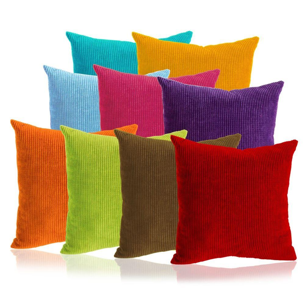 Solid Color Cushion Cover Corduroy Throw Pillow Case