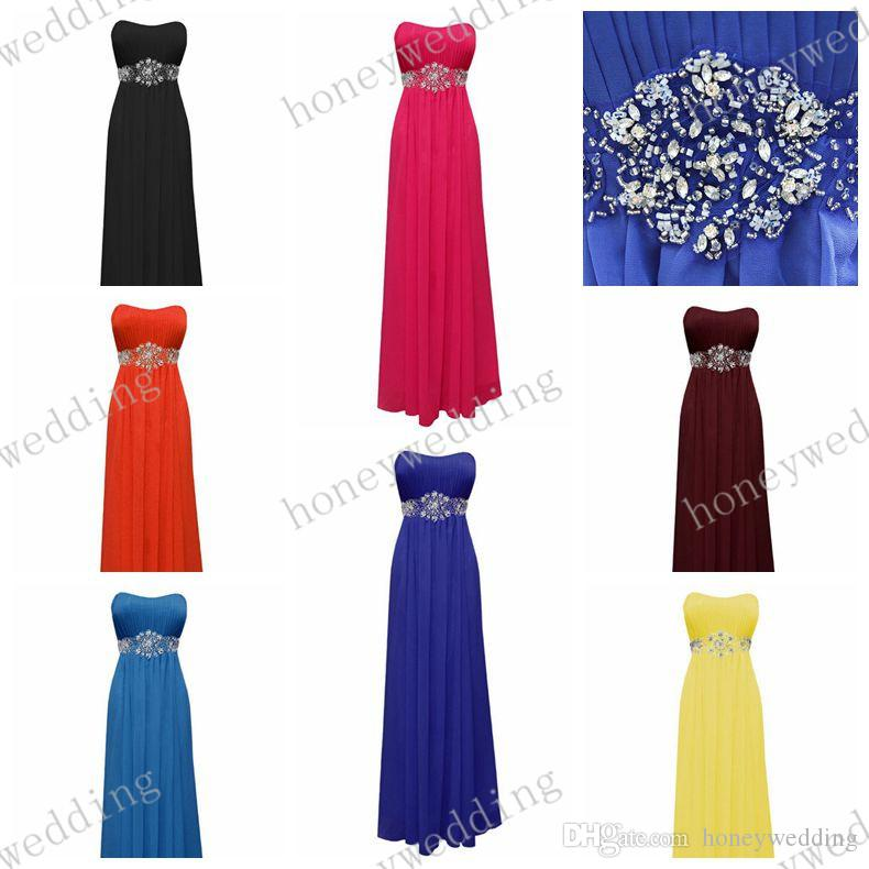 Bridesmaid Dresses Cheap 14 Colors Beads Sash Chiffon Bridesmaids Dresses Royal Blue Coral Purple Wedding Fromal Dresses