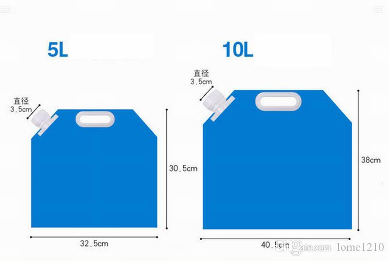 5L / 10L Açık Katlanabilir Katlanır Katlanabilir Içme Su Torbası Araba Su Kabı Taşıyıcı için Açık Kamp Yürüyüş Piknik BARBEKÜ