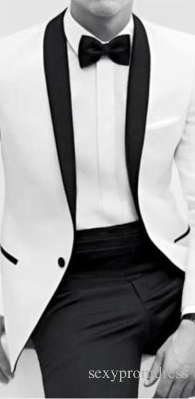 2014 Classic Black and White Bestmen Groom Tuxedos Formal Suits Business Men WearJacket+Pants+Tie+Shirt Cheap