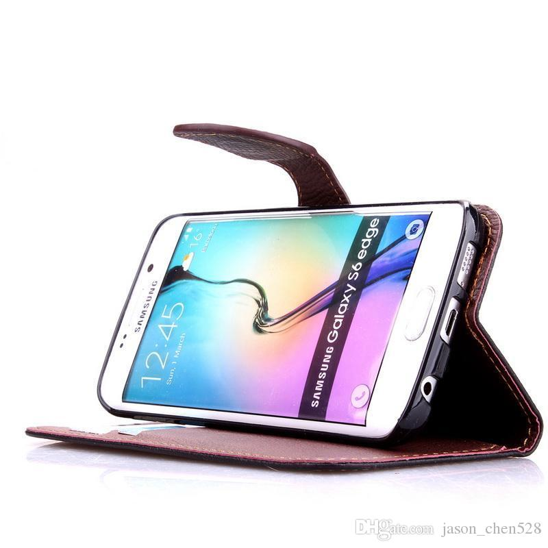 Wallet case leaf Clasp PU Leather Case for Samsung Galaxy I9600 S3 S4 S5 S6 Edge Plus Mini with Stand & 2 Card Slot Wallet case Cover