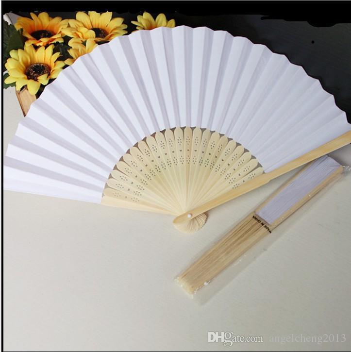 Ventiladores chineses Ventilador De Papel Em Branco Chinês Fã De Dobramento De Madeira Conjunto de 50 Para Pintura DIY Palco Coleção de Arte de Desempenho