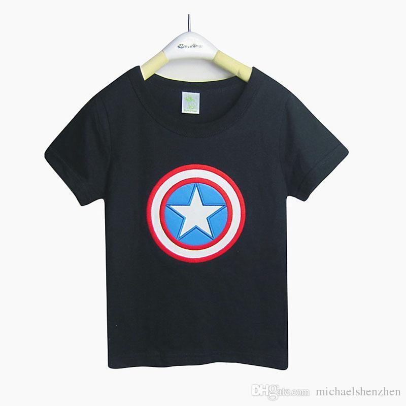 Bebés, camisetas Capitán América, 2015 nuevos niños, dibujos animados, súper héroe, manga corta, camisetas B