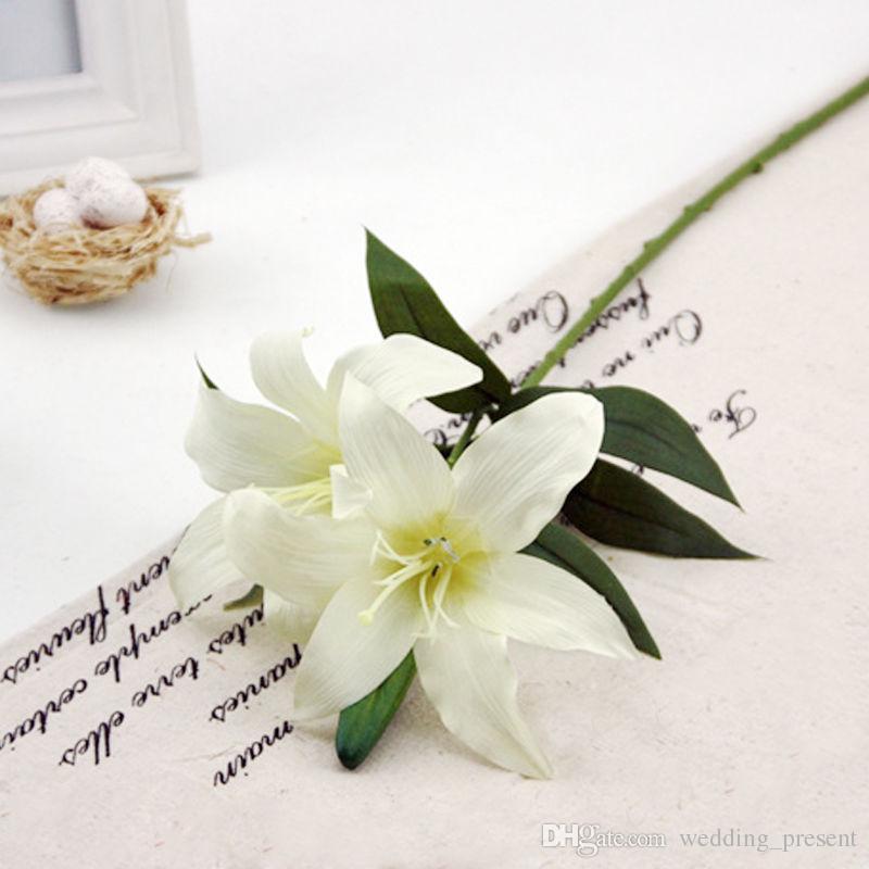 6 cores LILY BUNCH lírios artificiais falso de seda Posy flores do casamento Bush cesta de flores falsas para casa de natal decorações comprimento 57 cm