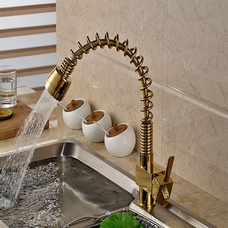 Golden Brass Spring Kitchen Faucet Vanity Sink Vessl Mixer Tap Dual ...