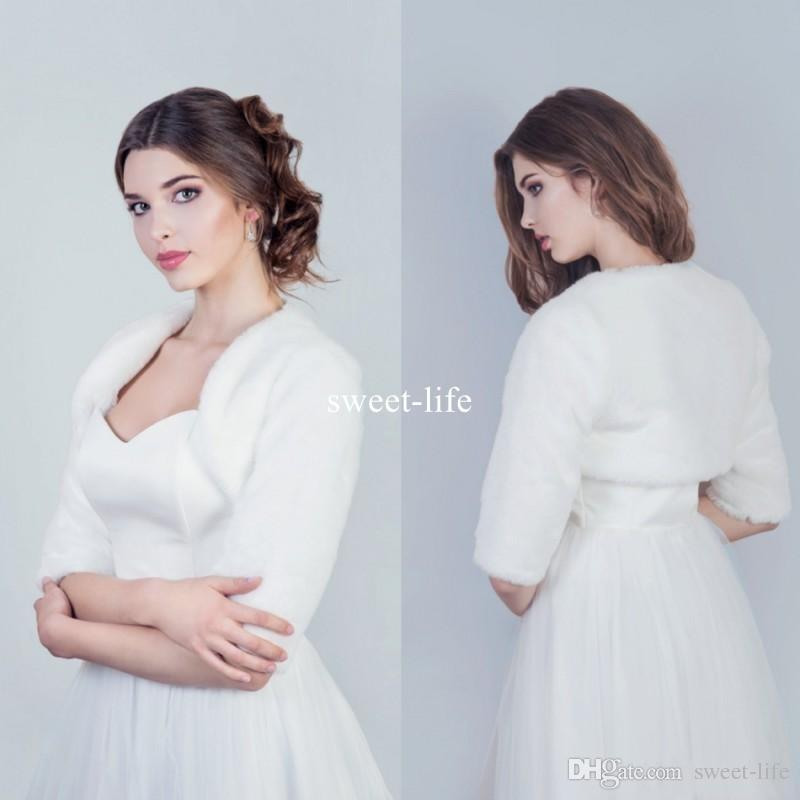 En gros hiver blanc mariée Wraps Noël cape cape de mariage capes Halloween demi-fourrure veste de fourrure demoiselle d'honneur bolero châle