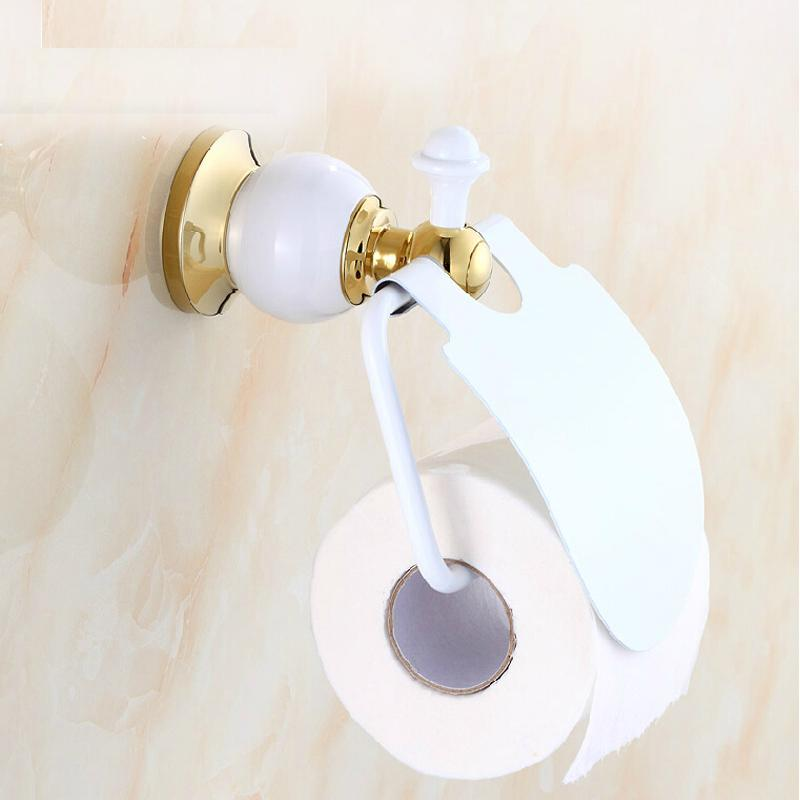 Free Shipping Wholesale And Retail White Painting Solid Brass Toilet Paper Holder W/ Cover Tissue Bar Hanger Wall Mounted