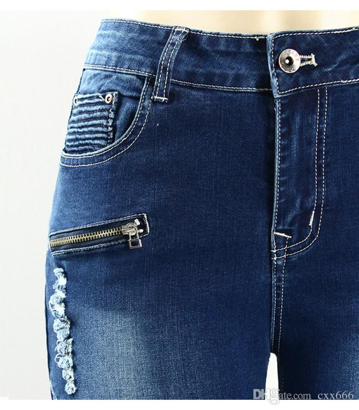 2017 Automne Nouveau Bleu Crayon Jeans Femmes de Motard Biker Zip Mid Haute Taille Extensible Skinny Pantalon Moteur Jeans Pour Femmes
