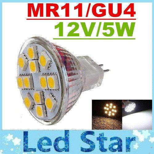 ce rohs ul mr11 gu4 led spotlights 12 leds 5050 smd 5w led bulbs lights 12v high bright. Black Bedroom Furniture Sets. Home Design Ideas
