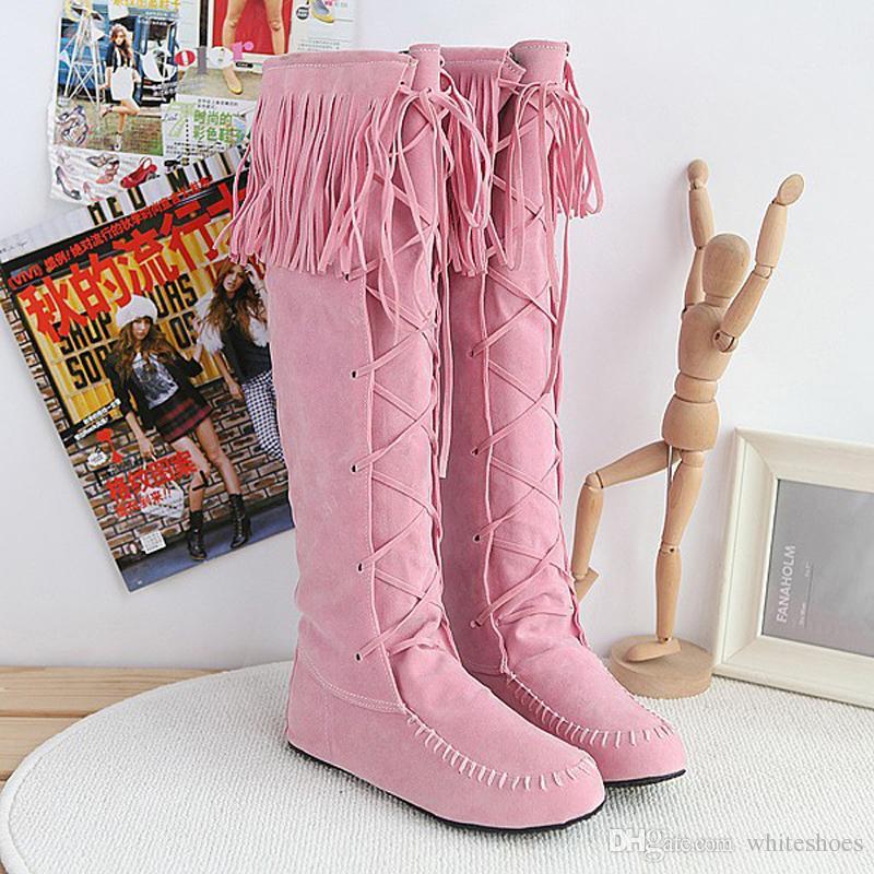 26d9778ee97 Khaki Tassel Boots For Women Fashion Knee Boots Flat Heel Boots ...