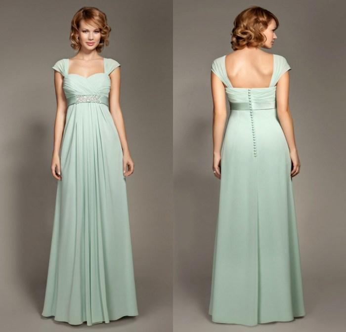32970d9604c Cheap Chiffon Empire Waist Bridesmaid Dresses Sage Sweetheart Capped  Ruffles Ribbon Beads A Line Floor Length Wedding Party Prom Gowns Brown  Bridesmaid ...