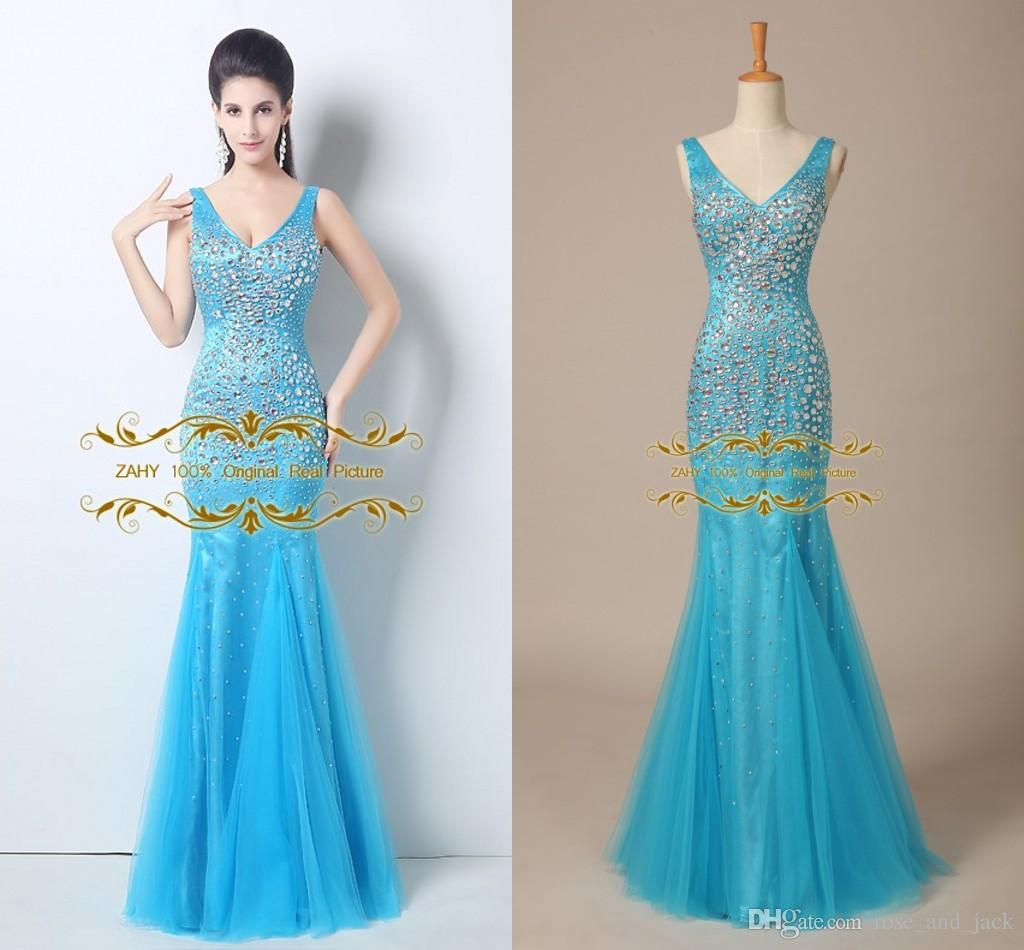 New Brilliant Glitter Crystal Beaded Sexy V Neck Mermaid Princess ...