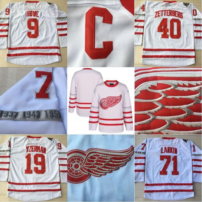 35bcab68247 2019 40 Henrik Zetterberg Jersey 2017 Centennial Classic 100 Anniversary  Patch 9 Gordie Howe 71 Dylan Larkin Detroit Red Wings Jersey From  Michaelwen2008