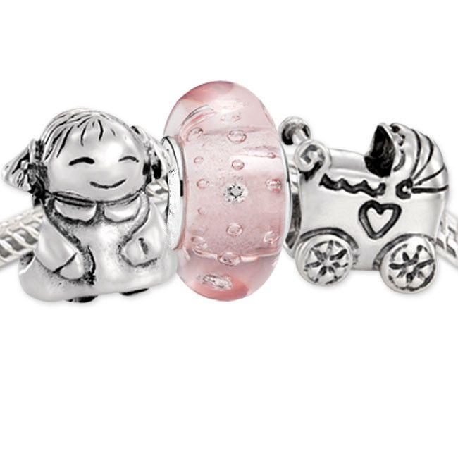 Autentyczne 925 Sterling Silver Charms and Murano Glass Bead Set pasuje do European Pandora Biżuteria urok Bransoletki - Odbijanie dziewczynki