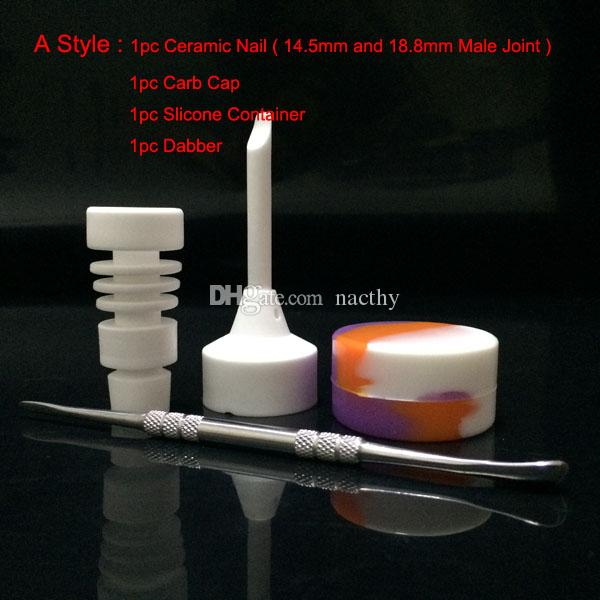 14mm 18mm 남성 또는 여성 세라믹 네일 유리 봉 도구 세트 Carb Cap Dabber 도구 Slicone 항아리 컨테이너 VS 티타늄 못