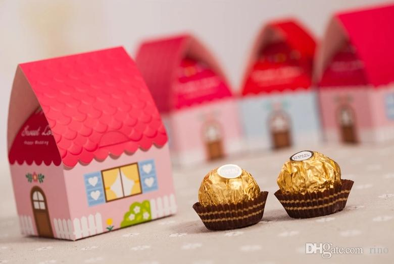 Sweet House Wedding Favors Boxes Paper Chocolate Boxes Samll Favours Gifts Bags Boxes Candy Boxes Wedding Supplies