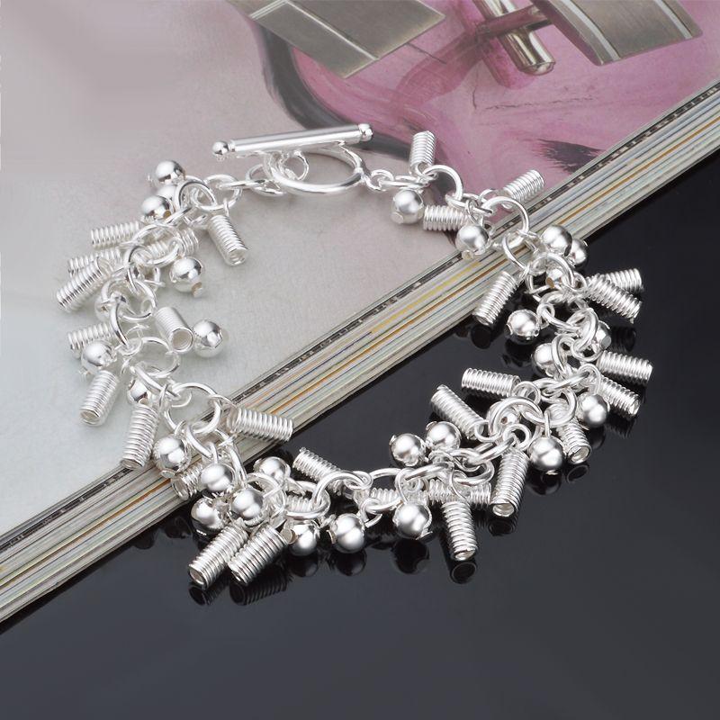 Livraison gratuite avec numéro de suivi Top Vente 925 Bracelet en argent ressort Accrochage et perles Bracelet Bijoux en argent / pas cher 1571