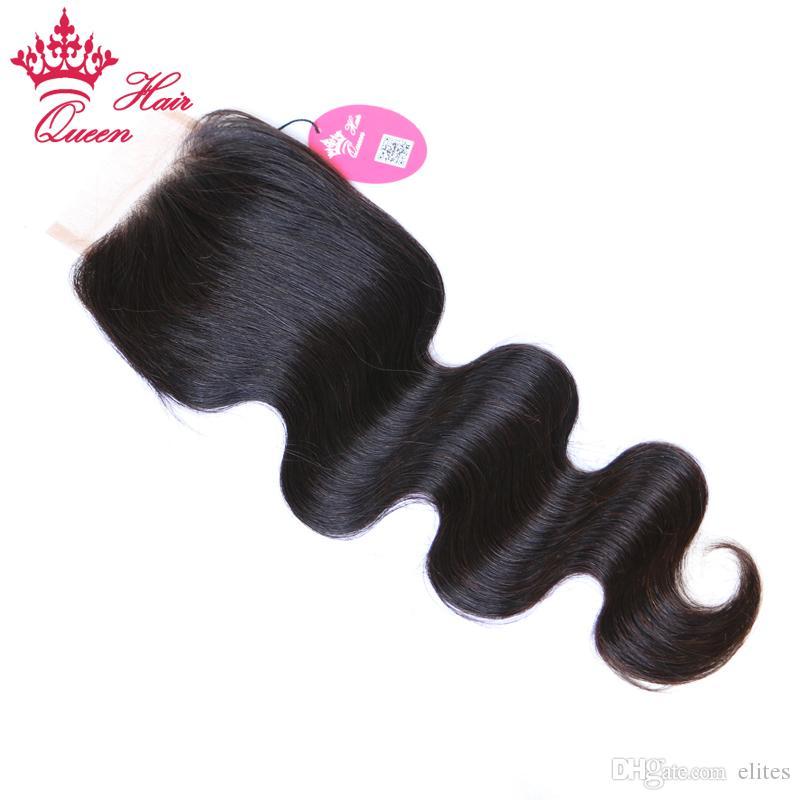 Продукты королевы волос 100% девственницы человеческие волосы бразильские кружева закрытие тела волна 8-20 дюймов # 1b натуральный цвет 8a класс DHL быстрая доставка