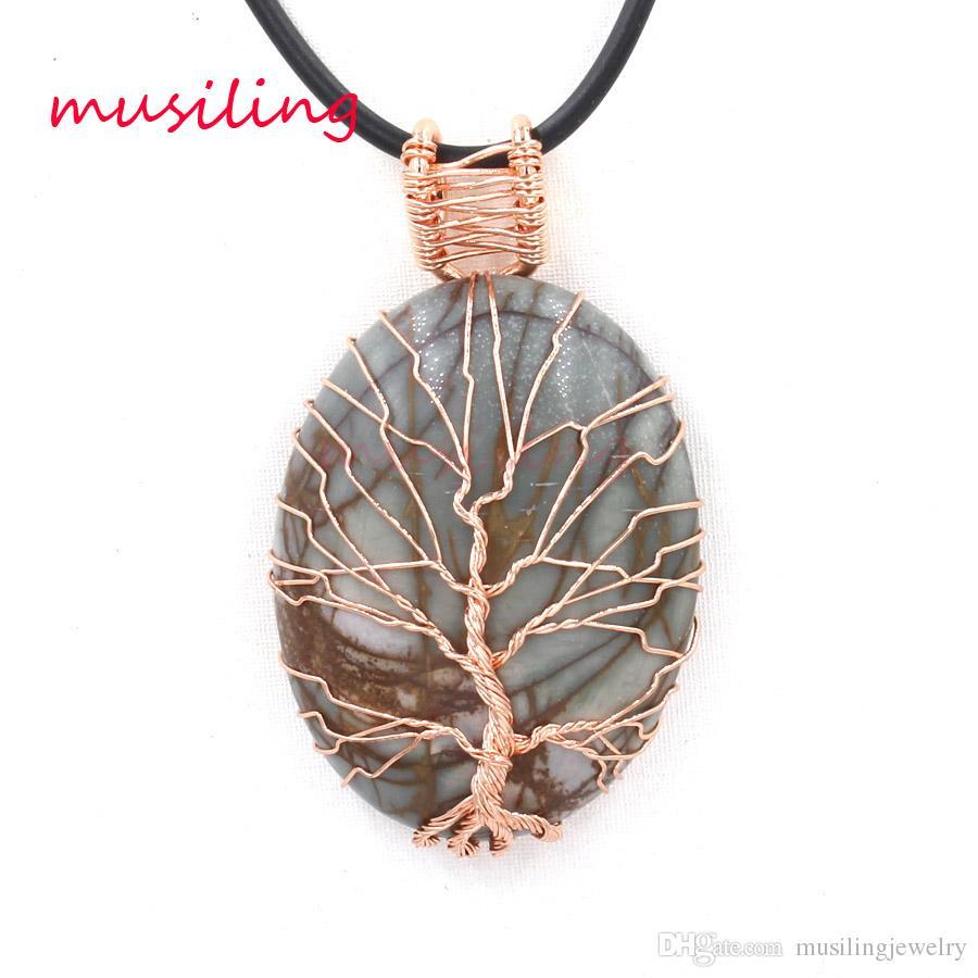 Ciondoli Oval Life Tree Natural Stone Energy Balance Reiki Pendulum Quarzo Cristallo Placcato Oro Rosa Charm Healing Chakra Amuleto Mens Gioielli